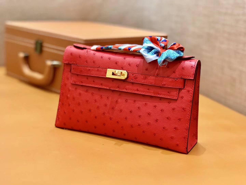 Hermès(爱马仕)MiniKelly 迷你凯莉 中国红 鸵鸟皮 1代 22cm