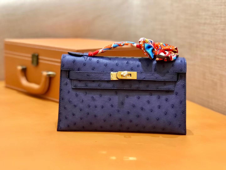 Hermès(爱马仕)MiniKelly 迷你凯莉 紫色 鸵鸟皮 1代 金扣 22cm