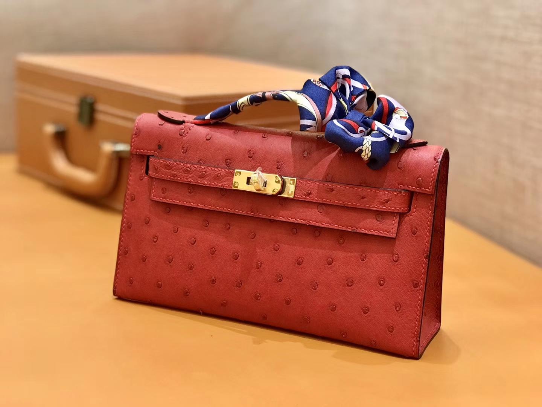 Hermès(爱马仕)MiniKelly 迷你凯莉 法拉利红 鸵鸟皮 1代 22cm