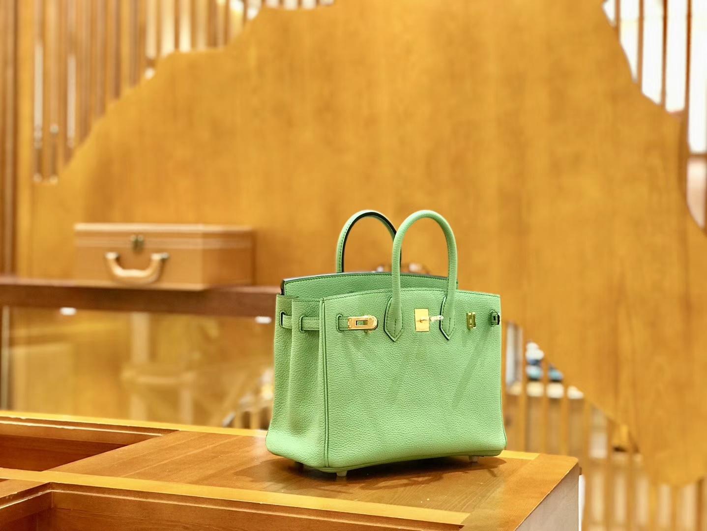 Hermès(爱马仕)Birkin 25cm 牛油果 金扣 全手工缝制