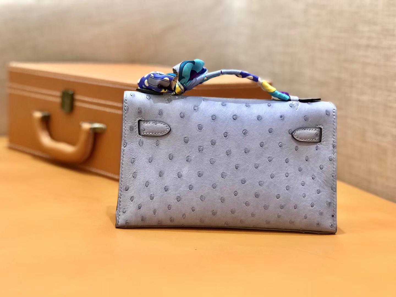 Hermès(爱马仕)MiniKelly 迷你凯莉 浅灰蓝 鸵鸟皮 1代 金扣 22cm