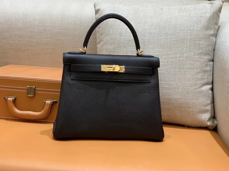 Hermès(爱马仕)Kelly 凯莉包 小牛皮 经典黑 金扣 28cm 全手工 现货