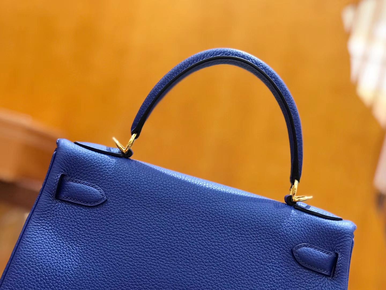 Hermès(爱马仕)Kelly 28cm togo 牛皮 电光蓝 金扣 全手工缝制 现货