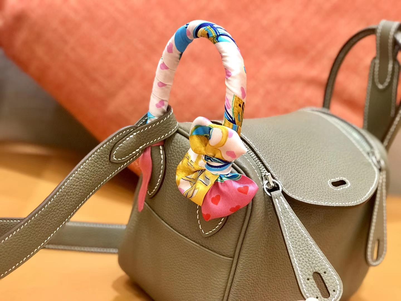 Hermès(爱马仕)Lindy 18cm 大象灰 银扣 小牛皮 全手工缝制