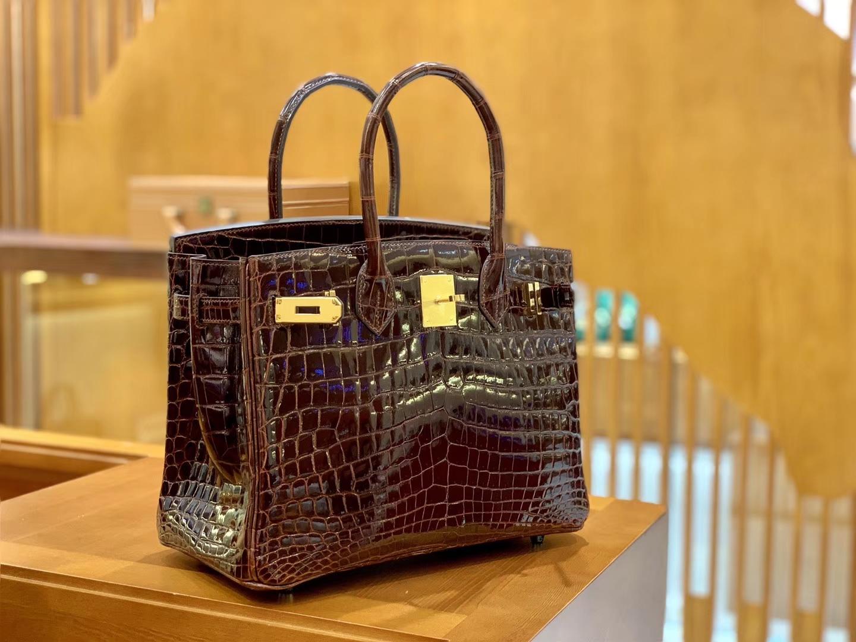 Hermès(爱马仕)Birkin 30cm 尼罗鳄鱼皮 板栗棕 金扣 全手工缝制