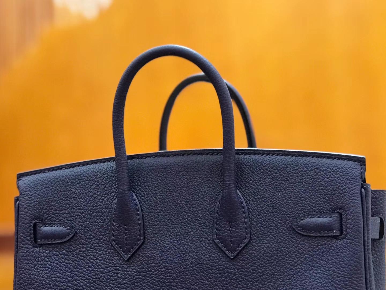 Hermès(爱马仕)Birkin 25cm togo牛皮 午夜蓝 金扣 全手工缝制