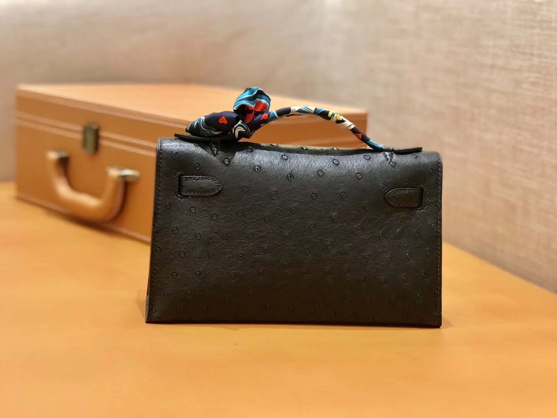 Hermès(爱马仕)MiniKelly 迷你凯莉 黑色 鸵鸟皮 1代 金扣 22cm