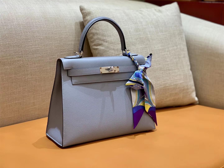 Hermès(爱马仕)Kelly 凯莉包 掌纹牛皮 冰川蓝 银扣 28cm 全手工 现货