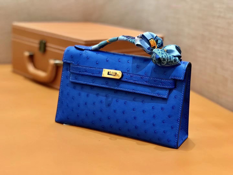Hermès(爱马仕)MiniKelly 迷你凯莉 电光蓝 鸵鸟皮 1代 22cm