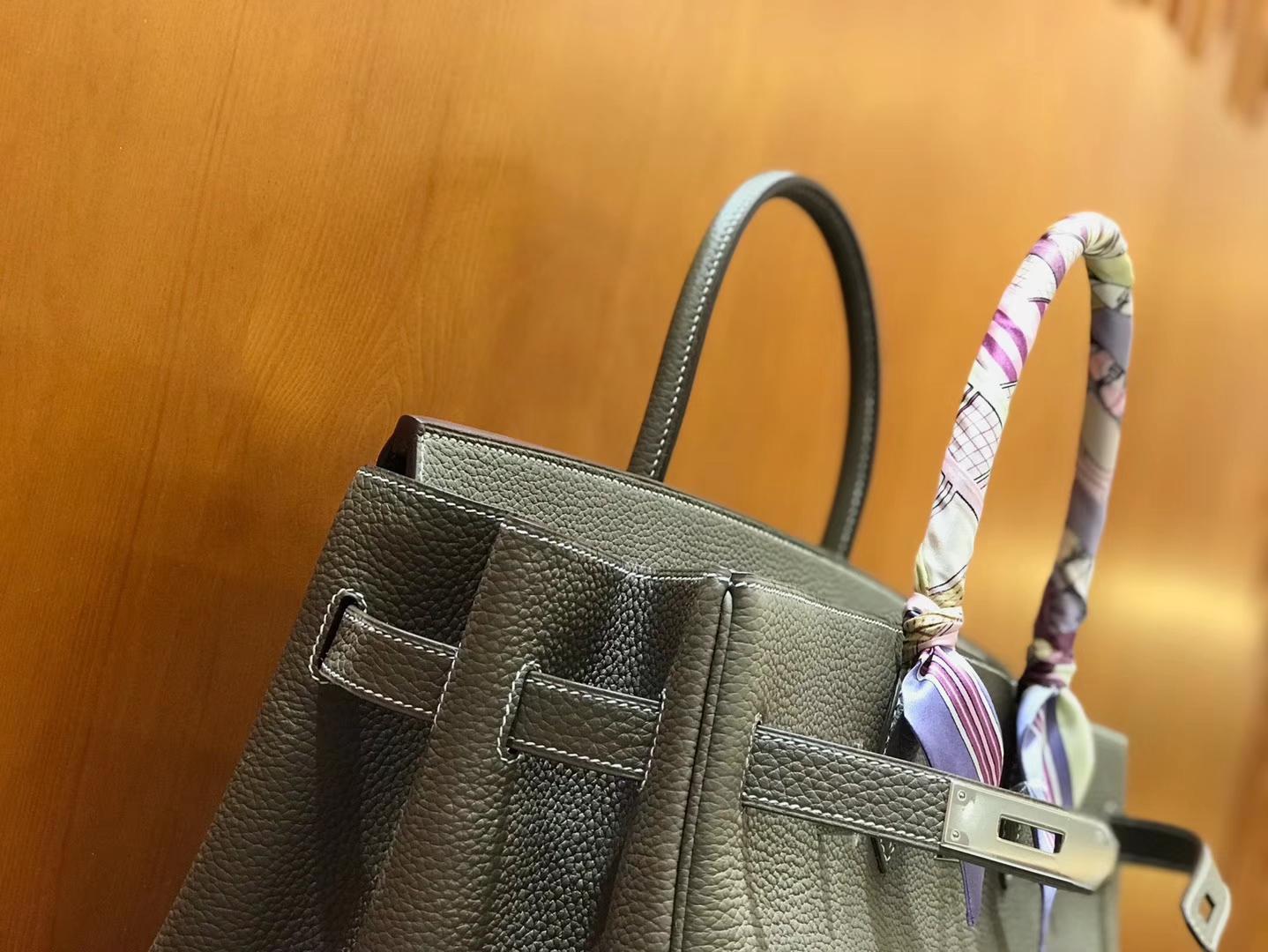 Hermès(爱马仕)Birkin 铂金包 斑鸠灰 小牛皮 银扣 40cm 男士首选