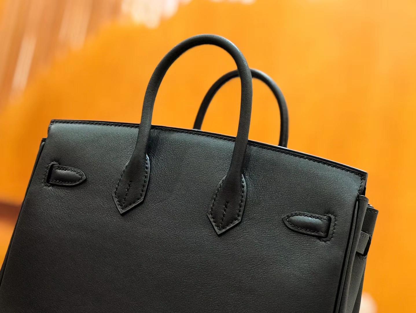Hermès(爱马仕)Birkin 25cm swift 牛皮 经典黑 金扣 全手工缝制