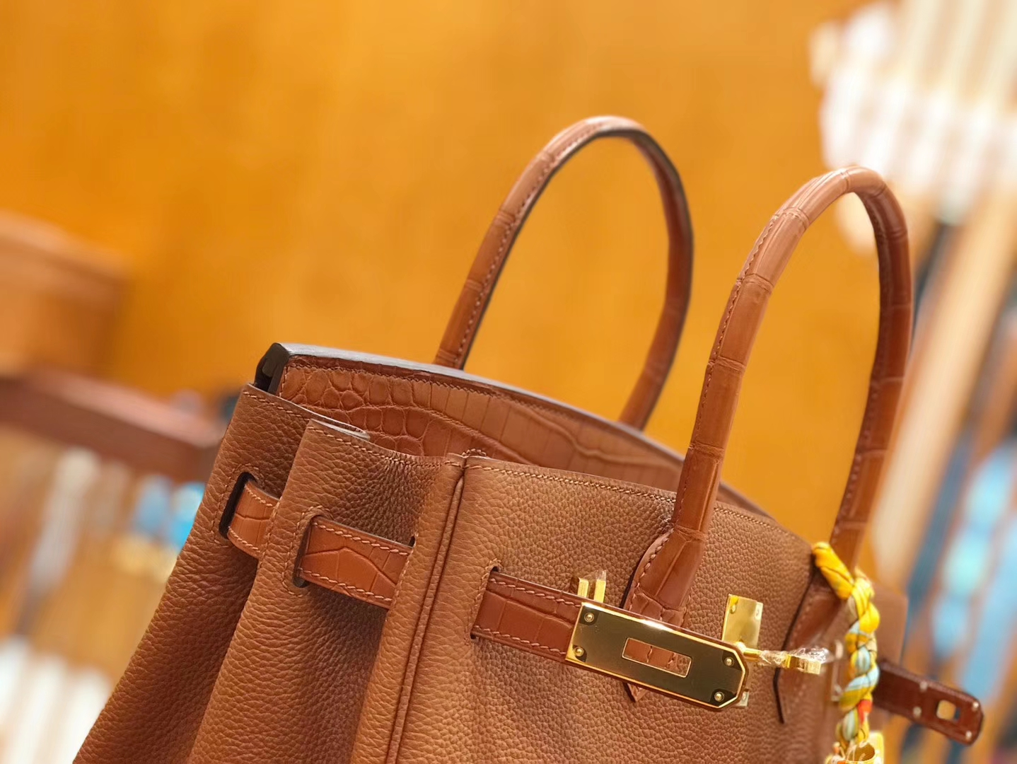 Hermès(爱马仕)Birkin 30cm Touch 蜜糖棕 鳄鱼皮拼牛皮 全手工缝制
