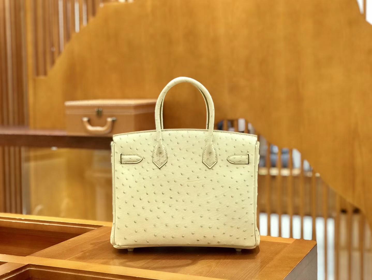 Hermès(爱马仕)Birkin 30cm 羊毛白 奶昔白 金扣 鸵鸟皮 全手工缝制