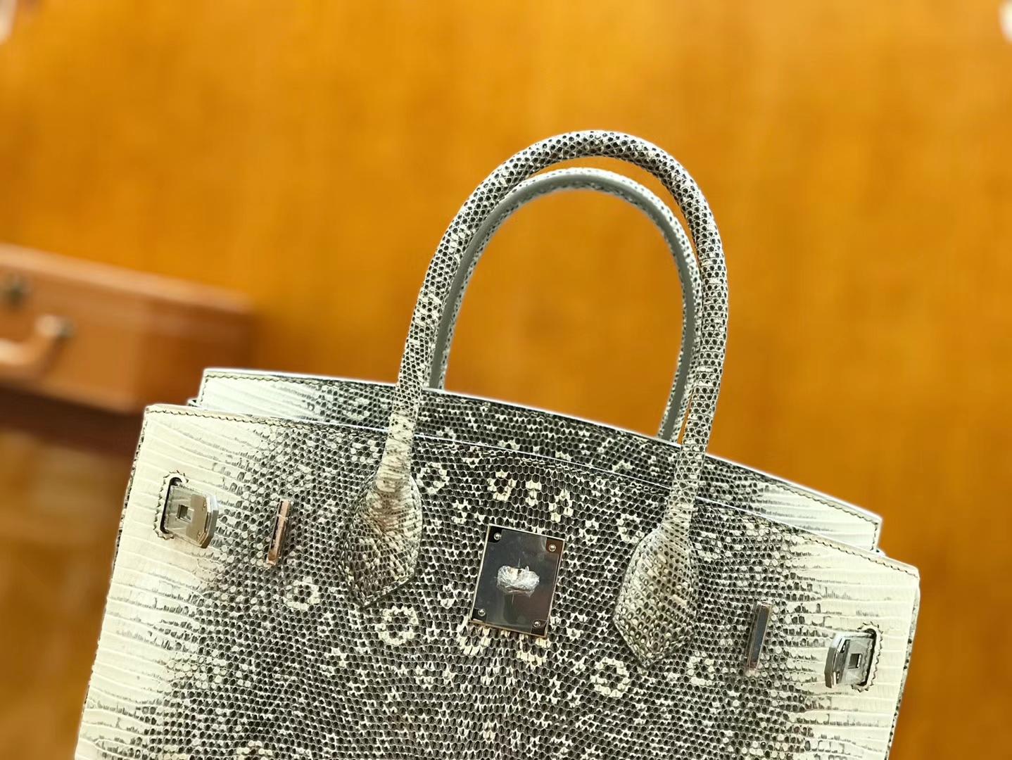 Hermès(爱马仕)Birkin 30cm 原色 雪花蜥蜴皮 全手工缝制 稀有