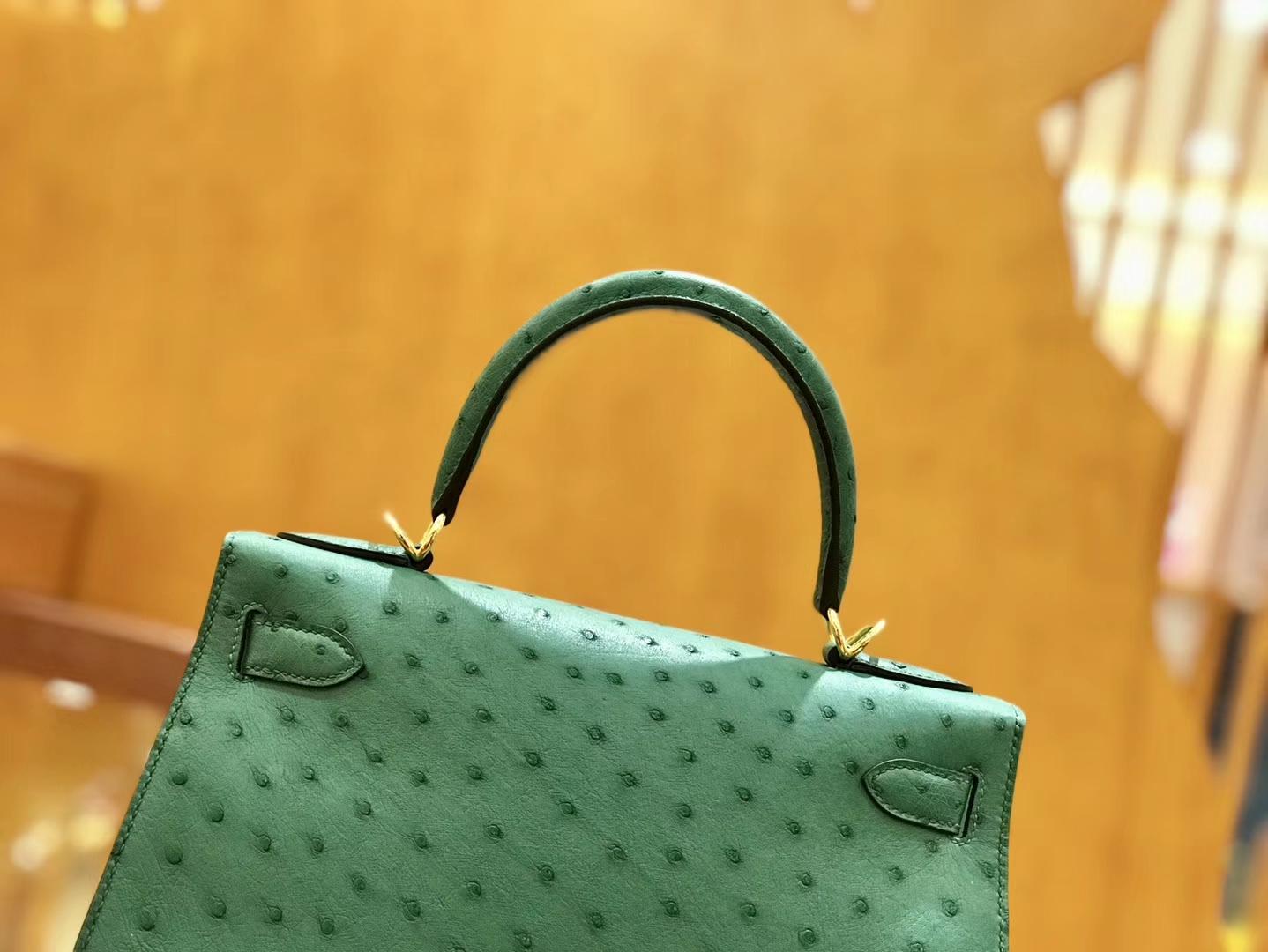 Hermès(爱马仕)Kelly 28cm 孔雀绿 金扣 鸵鸟皮 全手工缝制
