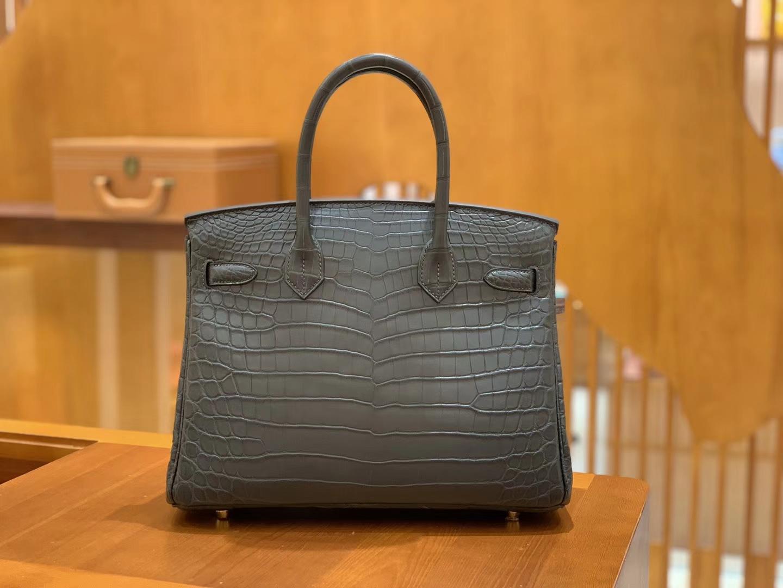 Hermès(爱马仕)Birkin 30cm 雾面 尼罗鳄鱼皮 锡器灰 金扣 全手工缝制