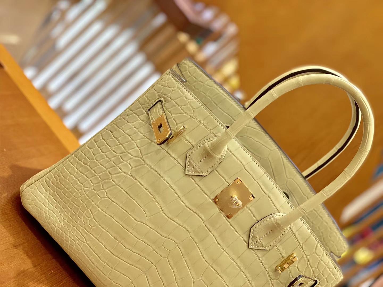 Hermès(爱马仕)Birkin 30cm 雾面 尼罗鳄鱼皮 奶昔黄 金扣 全手工缝制