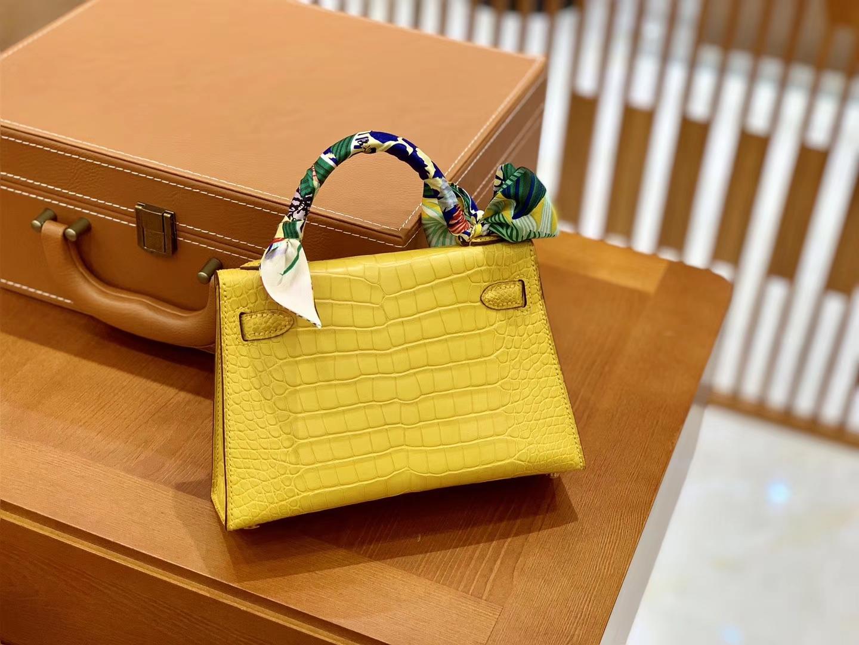 Hermès(爱马仕)迷你2代 19cm 琥珀黄 金扣 美洲雾面 鳄鱼皮 全手工缝制