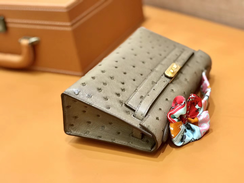 Hermès(爱马仕)MiniKelly 迷你凯莉 大象灰 鸵鸟皮 1代 金扣 22cm