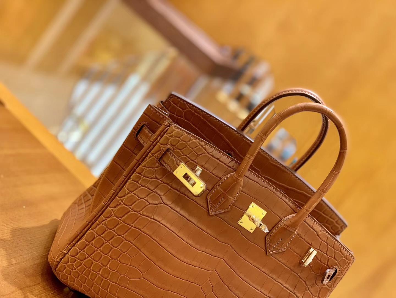 Hermès(爱马仕)Birkin 30cm 雾面 尼罗鳄鱼皮 蜜糖棕 金扣 全手工缝制