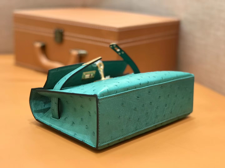 Hermès(爱马仕)Mini 1代 鸵鸟皮 丝绒绿 全手工缝制 现货
