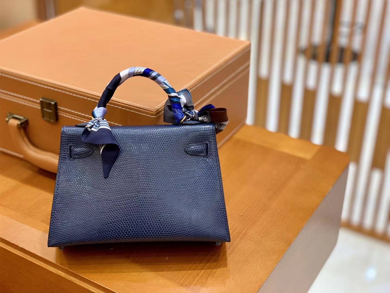 Hermès(爱马仕)迷你2代 19cm 午夜蓝 金扣 蜥蜴皮 全手工缝制