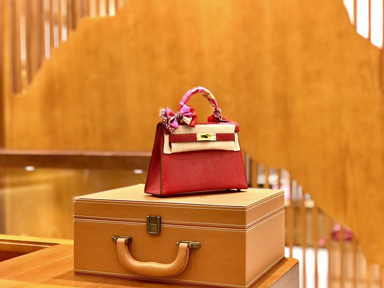 Hermès(爱马仕)新增现货 2代 19cm 蜥蜴皮 番茄红 金扣 全手工缝制