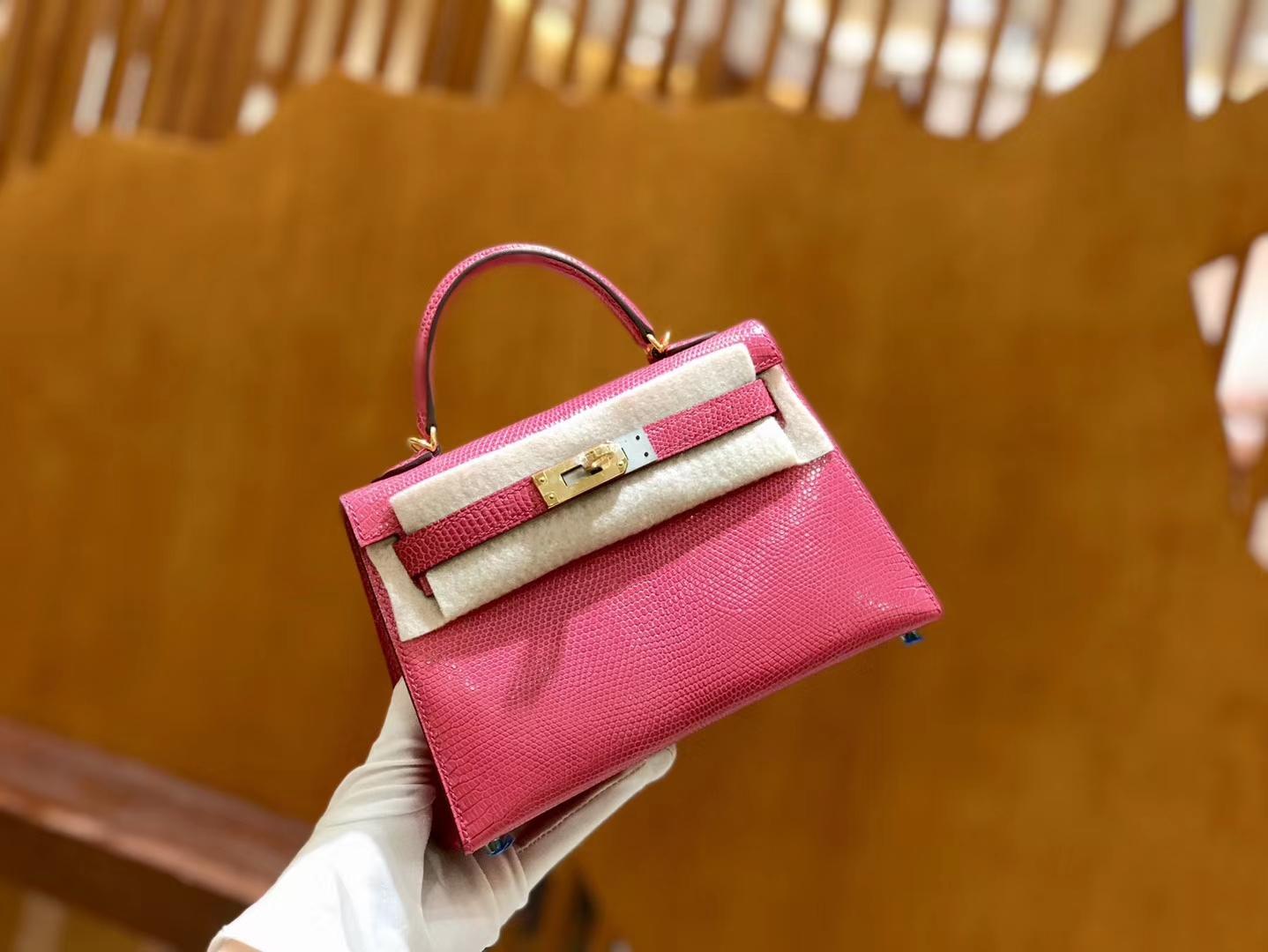 Hermès(爱马仕)新增现货 2代 19cm 蜥蜴皮 杜娟粉 金扣 全手工缝制