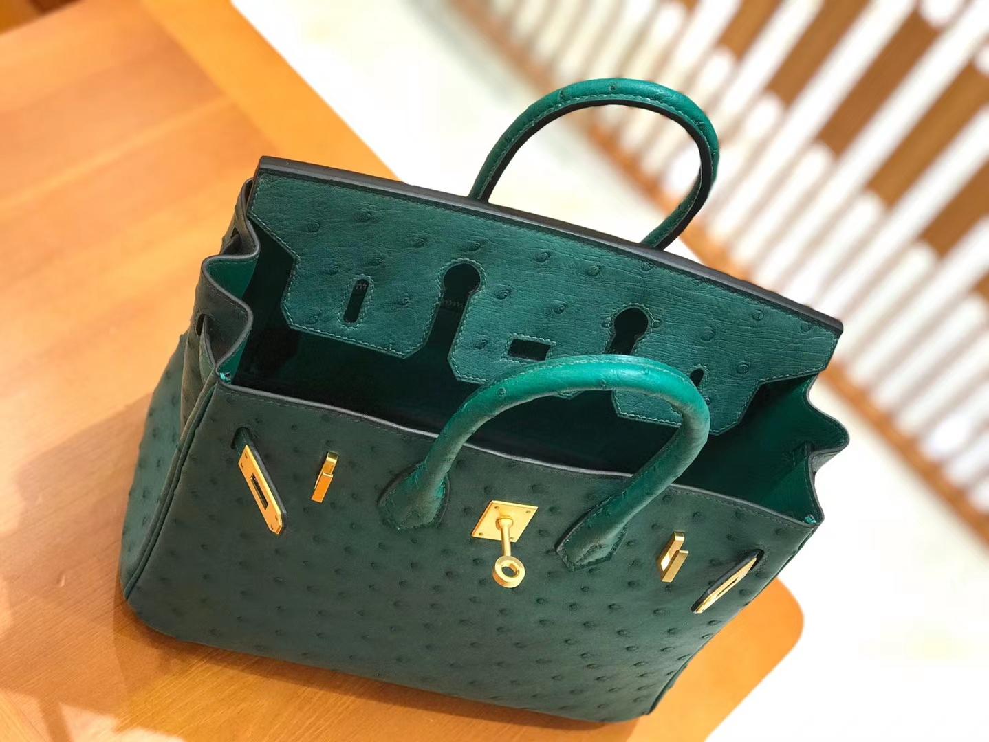 Hermès(爱马仕)Birkin 25cm 缇香绿拼墨绿 鸵鸟皮 全手工缝制