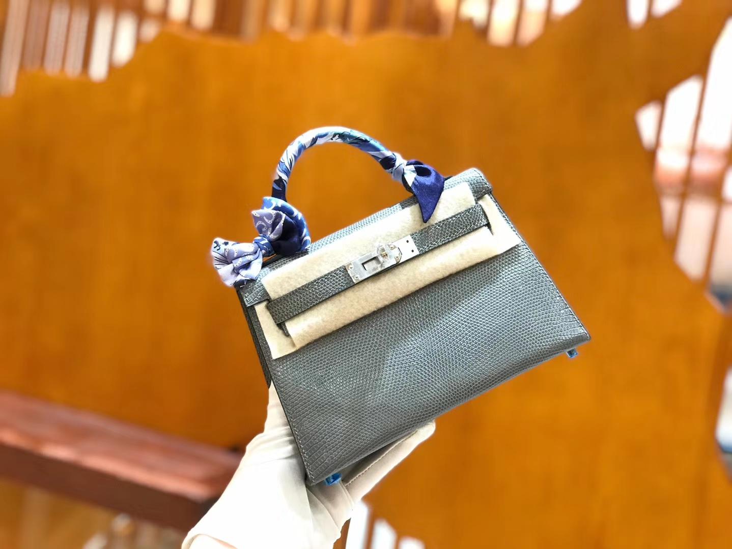 Hermès(爱马仕)mini 2代 19cm 蜥蜴皮 铁灰 银扣 新增现货