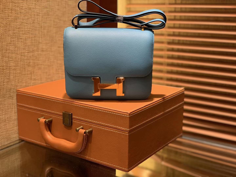 Hermès(爱马仕)Constance 18cm 北方蓝 银扣 掌纹牛皮 全手工缝制 现货