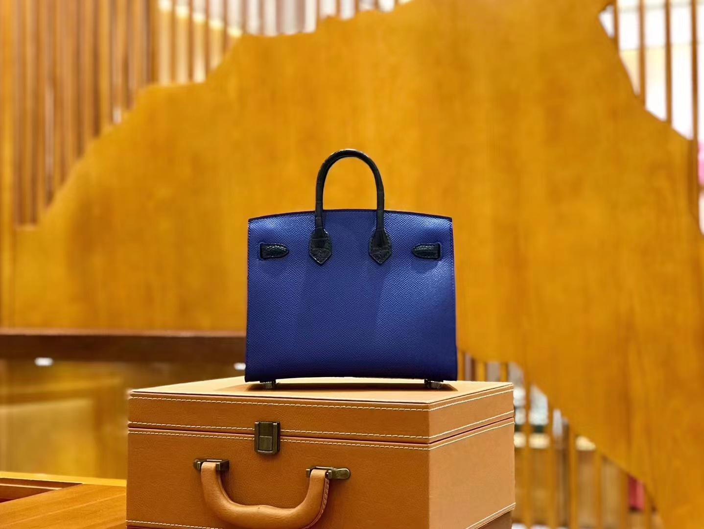 Hermès(爱马仕)Birkin 20cm 限量版小房子 宝蓝色 Epsom拼鳄鱼皮 顶级全手缝工序