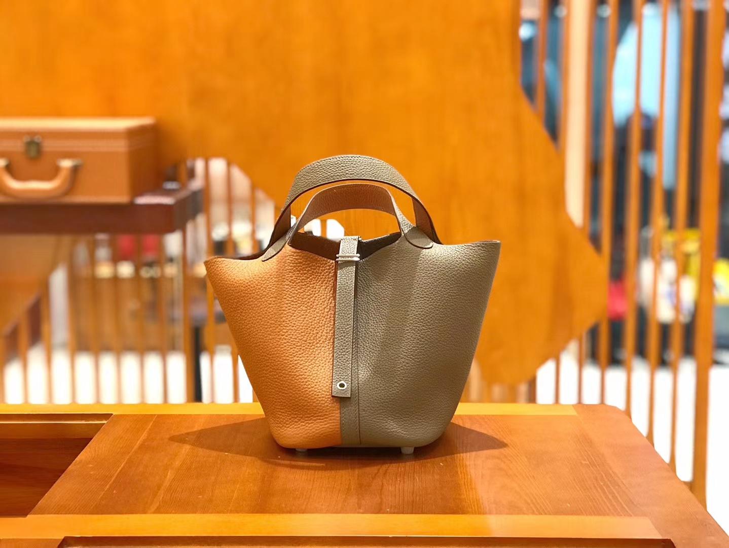 Hermès(爱马仕)Piction 18cm 大象灰拼金棕色 银扣 Togo小牛皮 全手工缝制
