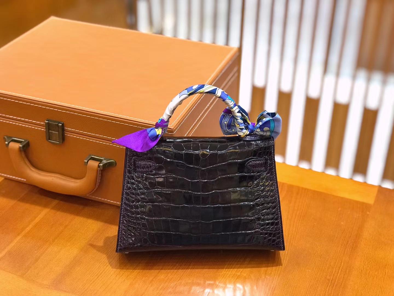 Hermès(爱马仕)迷你 2代 19cm 美洲鳄鱼 茄子紫 全手工缝制 新增现货