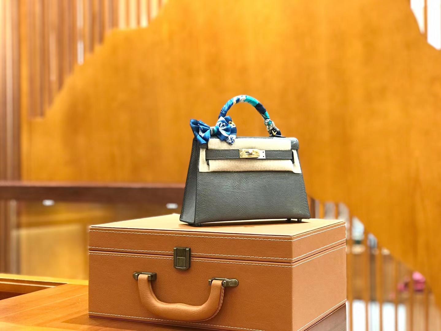 Hermès(爱马仕)mini 2代 19cm 蜥蜴皮 铁灰 金扣 新增现货