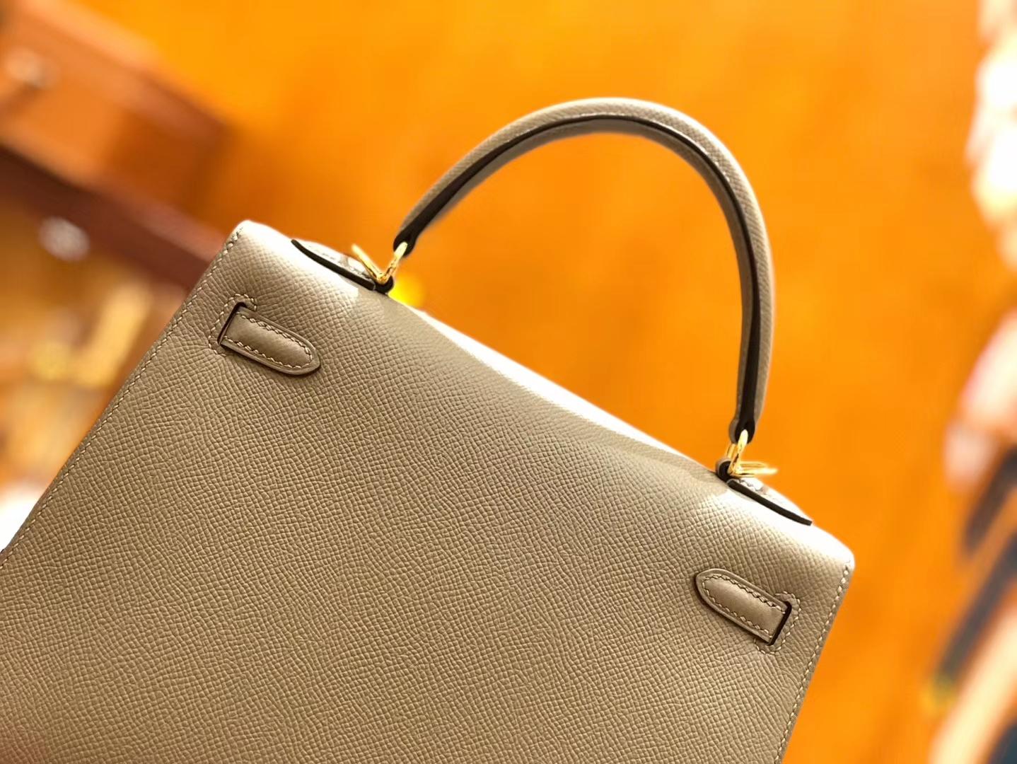 Hermès(爱马仕)Kelly 25cm 银河灰 金扣 掌纹牛皮 全手工缝制