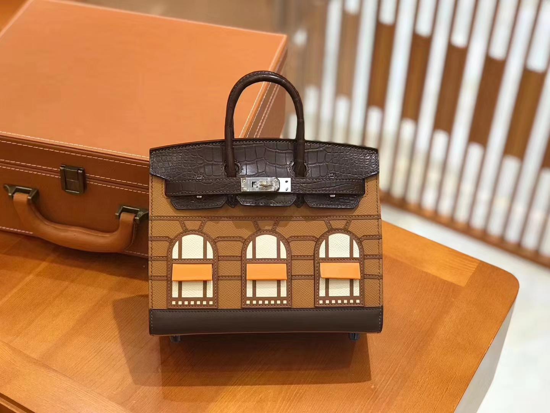 Hermès(爱马仕)Birkin 20cm 限量版小房子 金棕色 Epsom拼鳄鱼皮 顶级全手缝工序