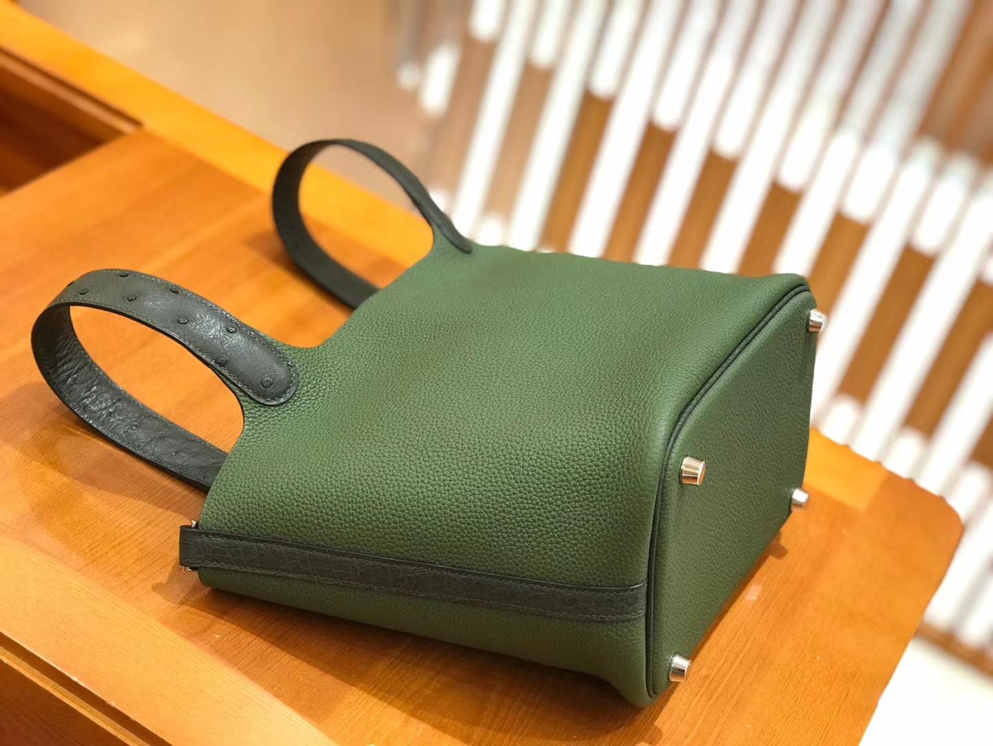 Hermès(爱马仕)Piction 18cm 丛林绿 银扣 鸵鸟皮拼小牛皮 全手工缝制