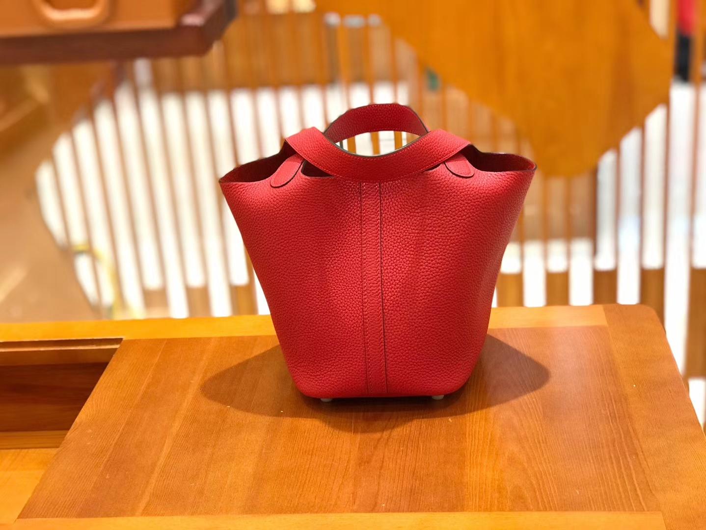 Hermès(爱马仕)Piction 18cm 大红色 银扣 Togo小牛皮 全手工缝制