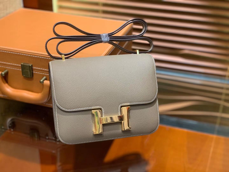 Hermès(爱马仕)Constance 18cm 大象灰 金扣 掌纹牛皮 全手工缝制 现货