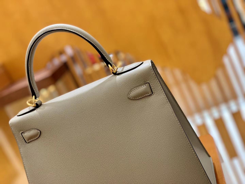 Hermès(爱马仕)Kelly 28cm 掌纹 牛皮 沥青灰 高订工序版本 全手工缝制