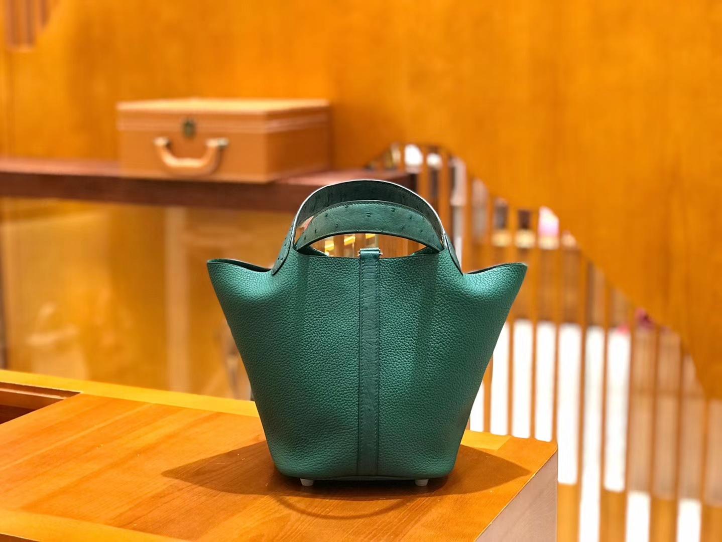 Hermès(爱马仕)Piction 18cm 丝绒绿 银扣 鸵鸟皮拼小牛皮 全手工缝制