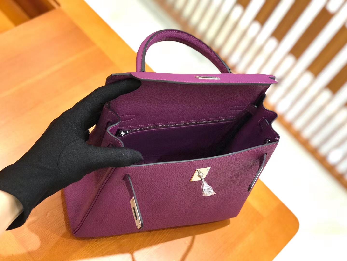 Hermès(爱马仕)Kelly 25cm togo小牛皮 海葵紫 银扣 全手工缝制