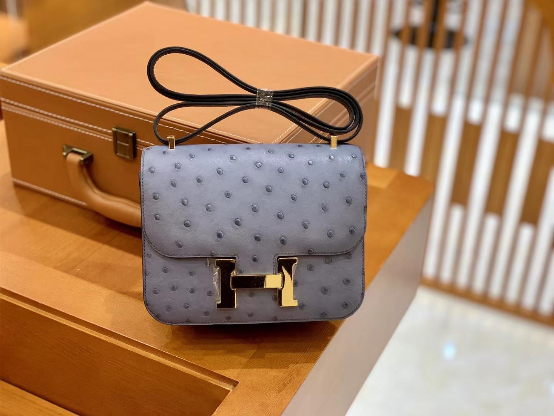 Hermès(爱马仕)Constance 18cm 沥青灰 金扣 南非进口鸵鸟皮 全手工缝制 现货