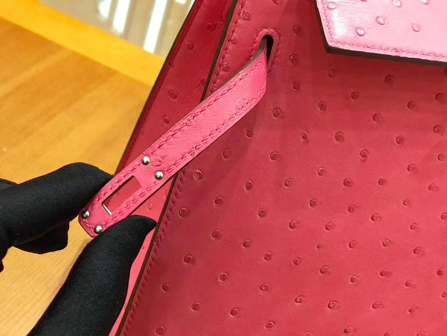 Hermès(爱马仕)Kelly 28cm 樱花粉 银扣 南非kk级鸵鸟皮 原版蜜蜡线 顶级手工缝制