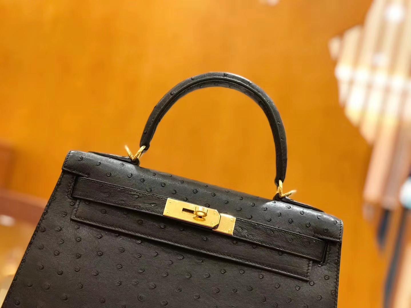 Hermès(爱马仕)Kelly 28cm 经典黑 金扣 南非kk级鸵鸟皮 原版蜜蜡线 顶级手工缝制