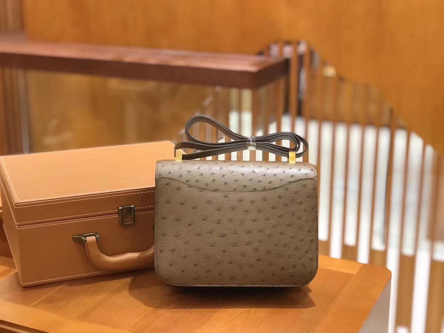 Hermès(爱马仕)Constance 23cm 大象灰 南非KK级鸵鸟皮 金扣 原版蜜蜡线 顶级手缝