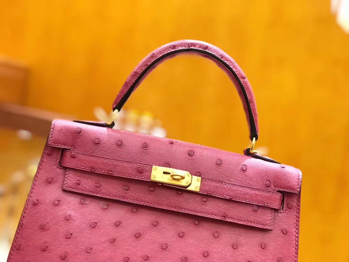 Hermès(爱马仕)Kelly 28cm 鸢尾紫 金扣 南非kk级鸵鸟皮 原版蜜蜡线 顶级手工缝制