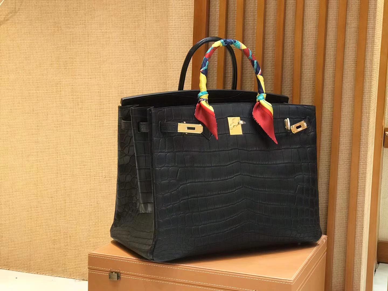 Hermès(爱马仕)Birkin 铂金包 经典黑 进口一级雾面尼罗鳄鱼皮 蜡线 40cm