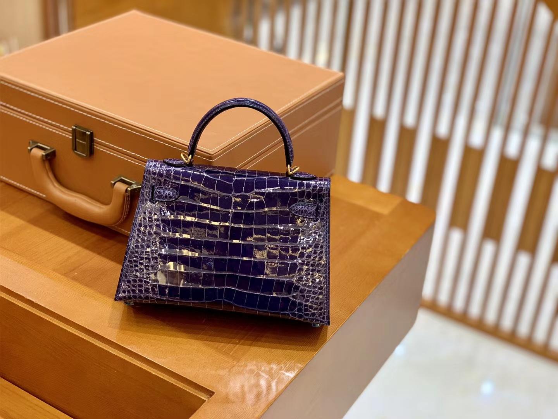 Hermès(爱马仕)迷你 2代 美洲鳄鱼皮 茄子紫  全手工缝制 现货